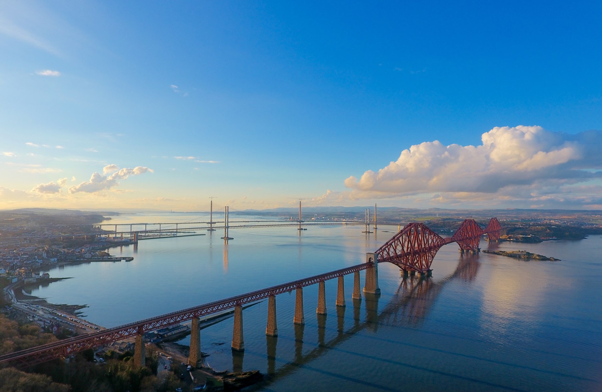 Arial photo of the Forth Bridges