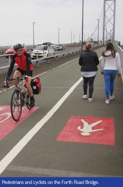 Pedestrians and cyclists on teh Forth Road Bridge