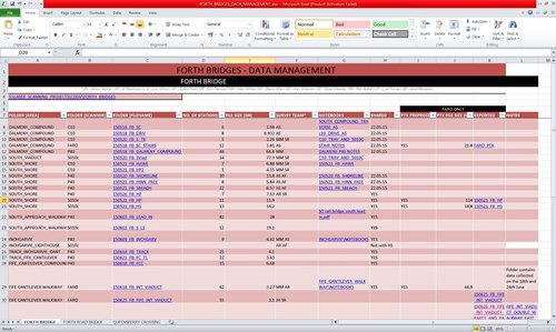 Screenshot of the data management spreadsheet